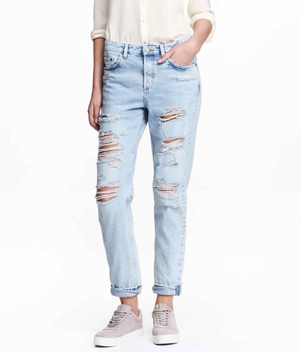 H&M Boyfriend Ripped Jeans, Boyfriend Low Ripped Jeans, Ripped Jeans, Destroyed Jeans