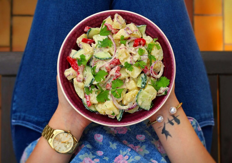 Veganer, Kartoffelsalat, Joghurt, Senf, Dressing