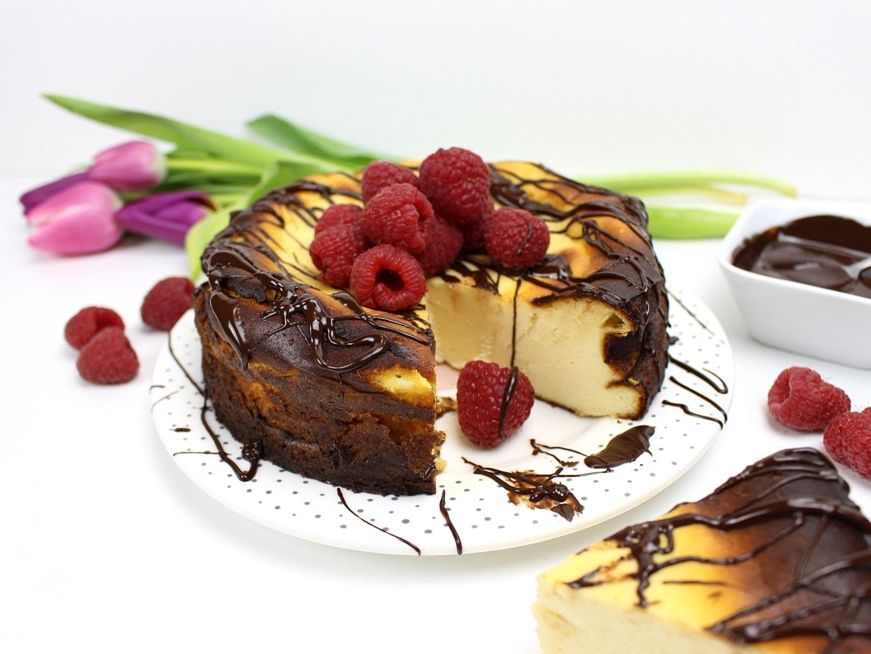 Käsekuchen, Kaesekuchen, Himbeeren, Schokolade, Rezept, ohne Boden,