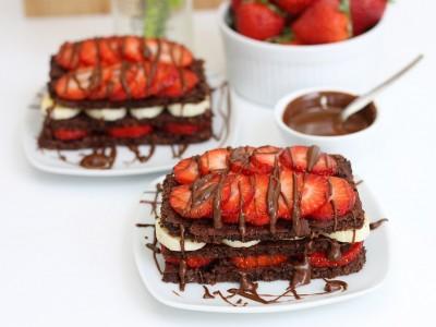 brownie, schnitten, erdbeeren, banane, vegan, rezept, Smacktastic, Protein