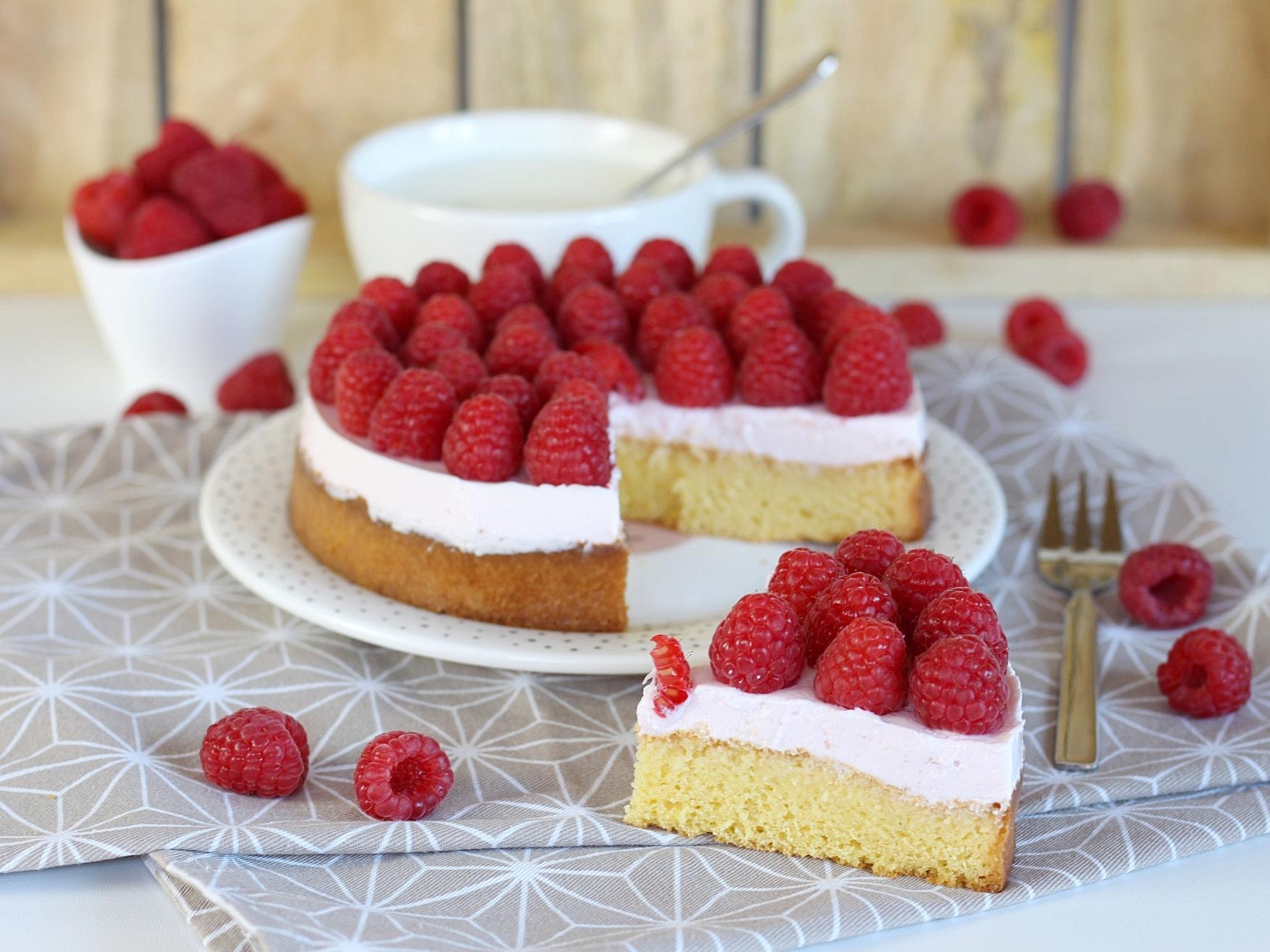 Gesunder Himbeer-Vanille Kuchen