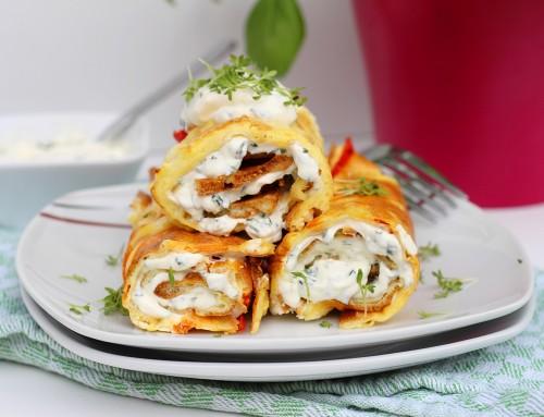 Ofenpfannkuchen mit Feta und Gemüse