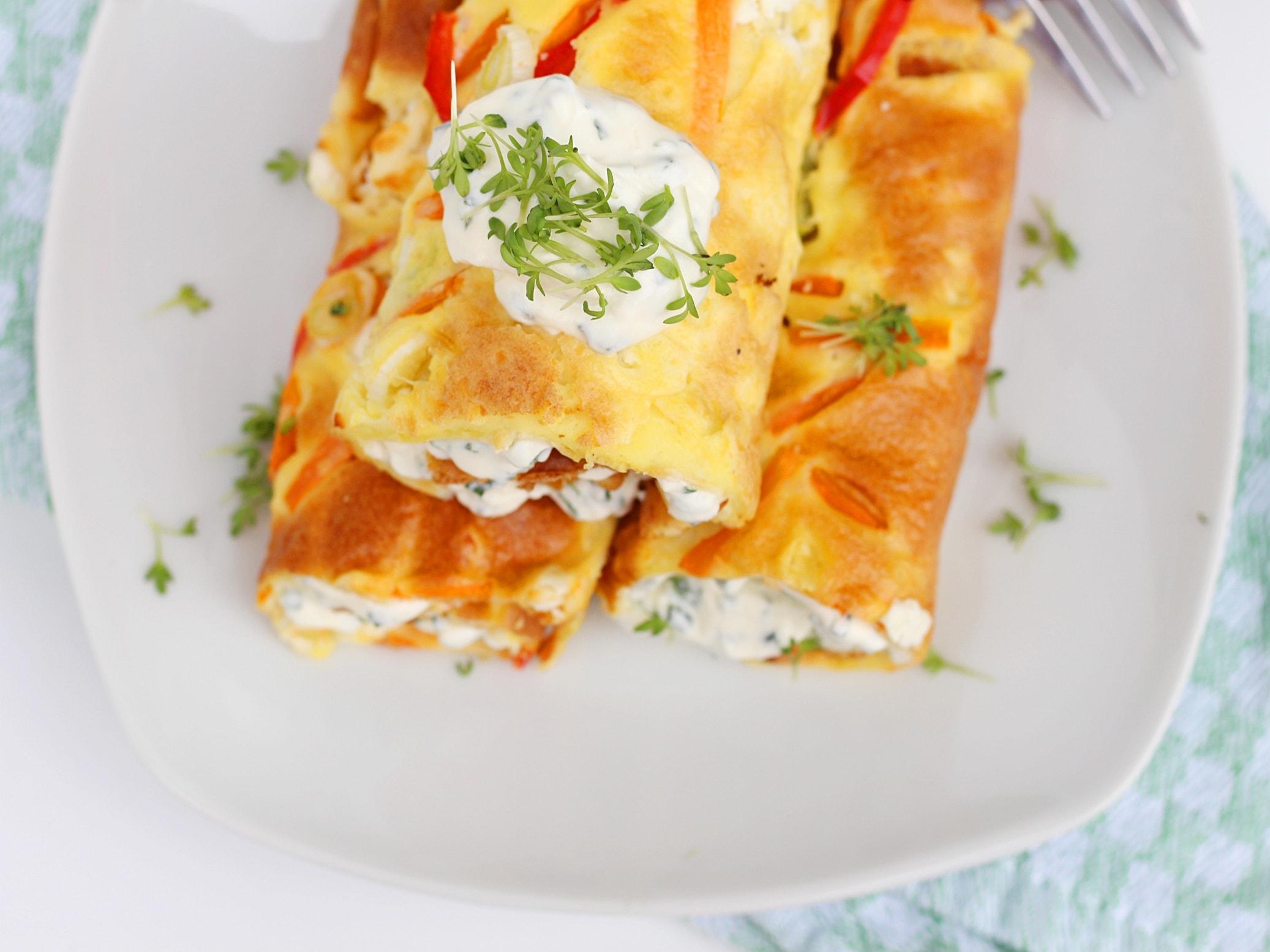Ofenpfannkuchen, Feta, Gemüse