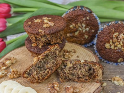 Vegane, Bananen, Walnuss, Muffins, Rezept, Christinas-Fitlife.de, christinas, fitlife, backen