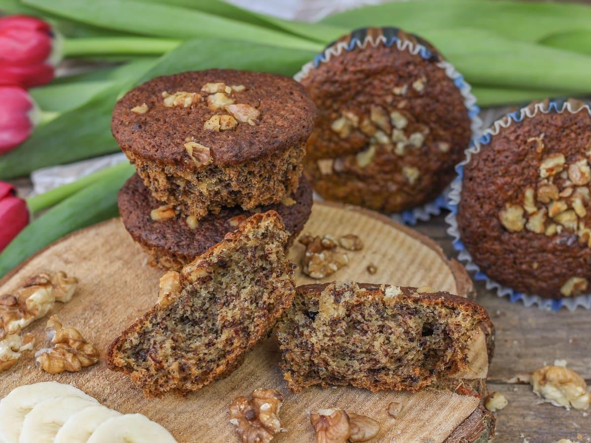 Vegane, Bananen, Walnuss, Muffins, Rezept, Christinas-Fitlife.de, christinas, fitlife, backen